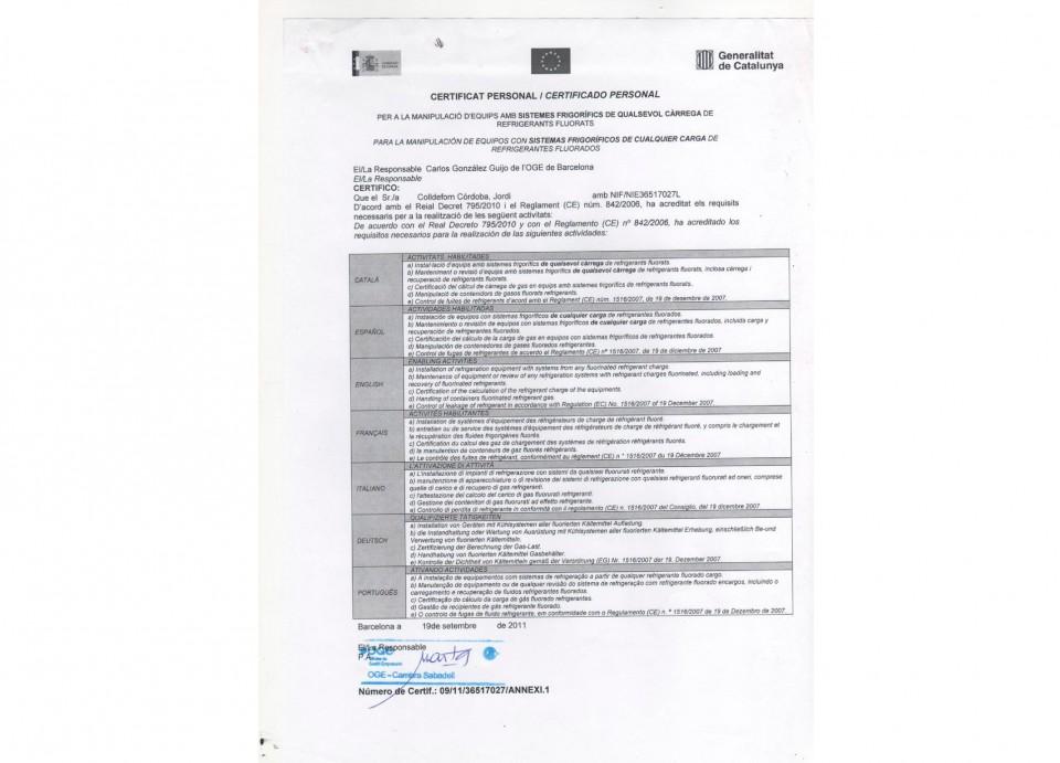 Certificado de Manipulación de Gases Fluorados