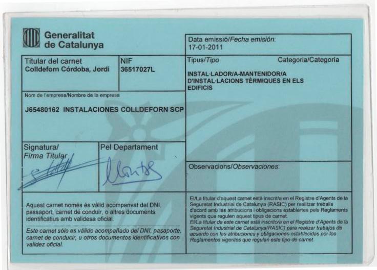 CARNET EMPRESA AUTORIZADA INSTALACIONES COLLDEFORN SCP